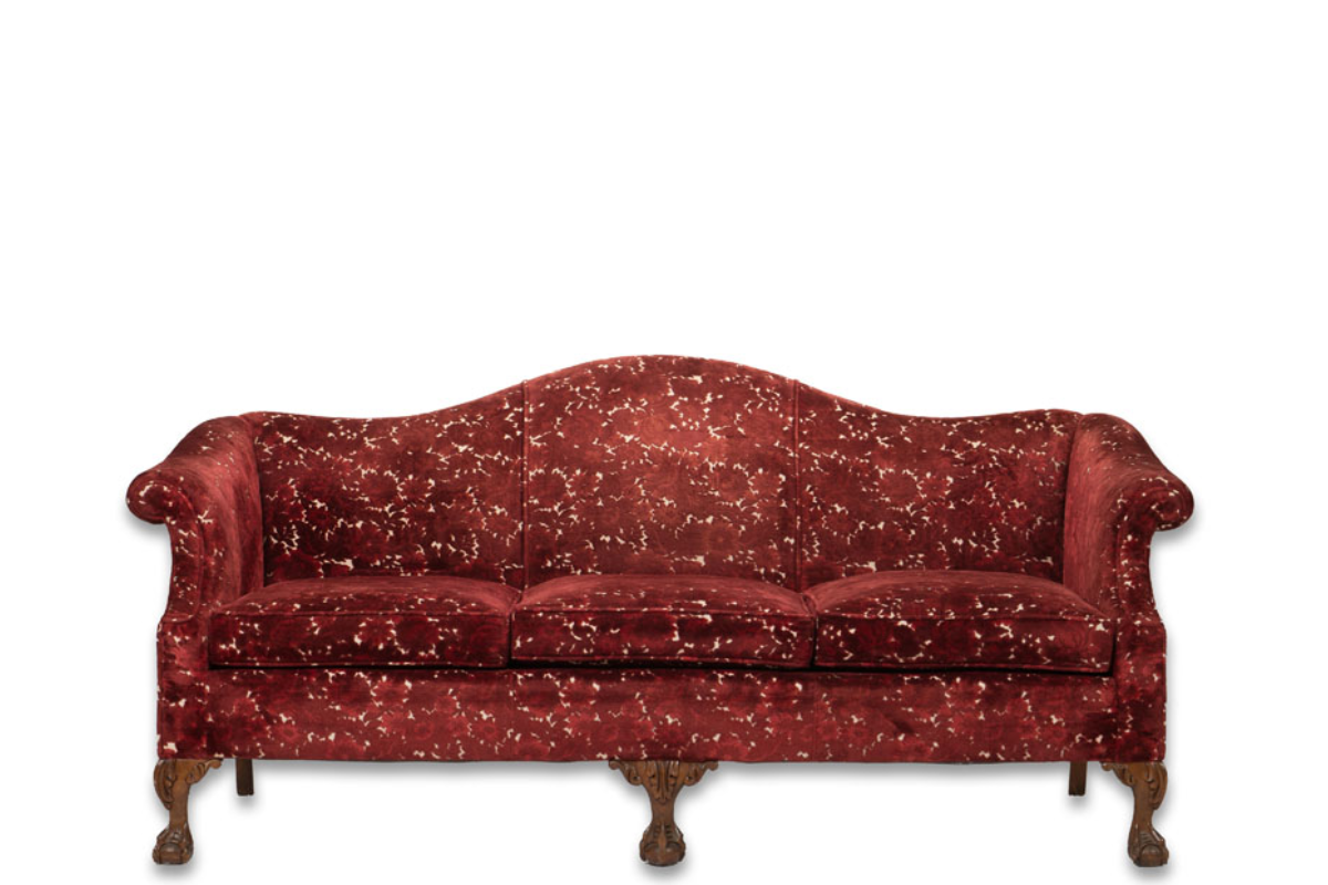 D-10 - RED VELVET ANTIQUE SOFA