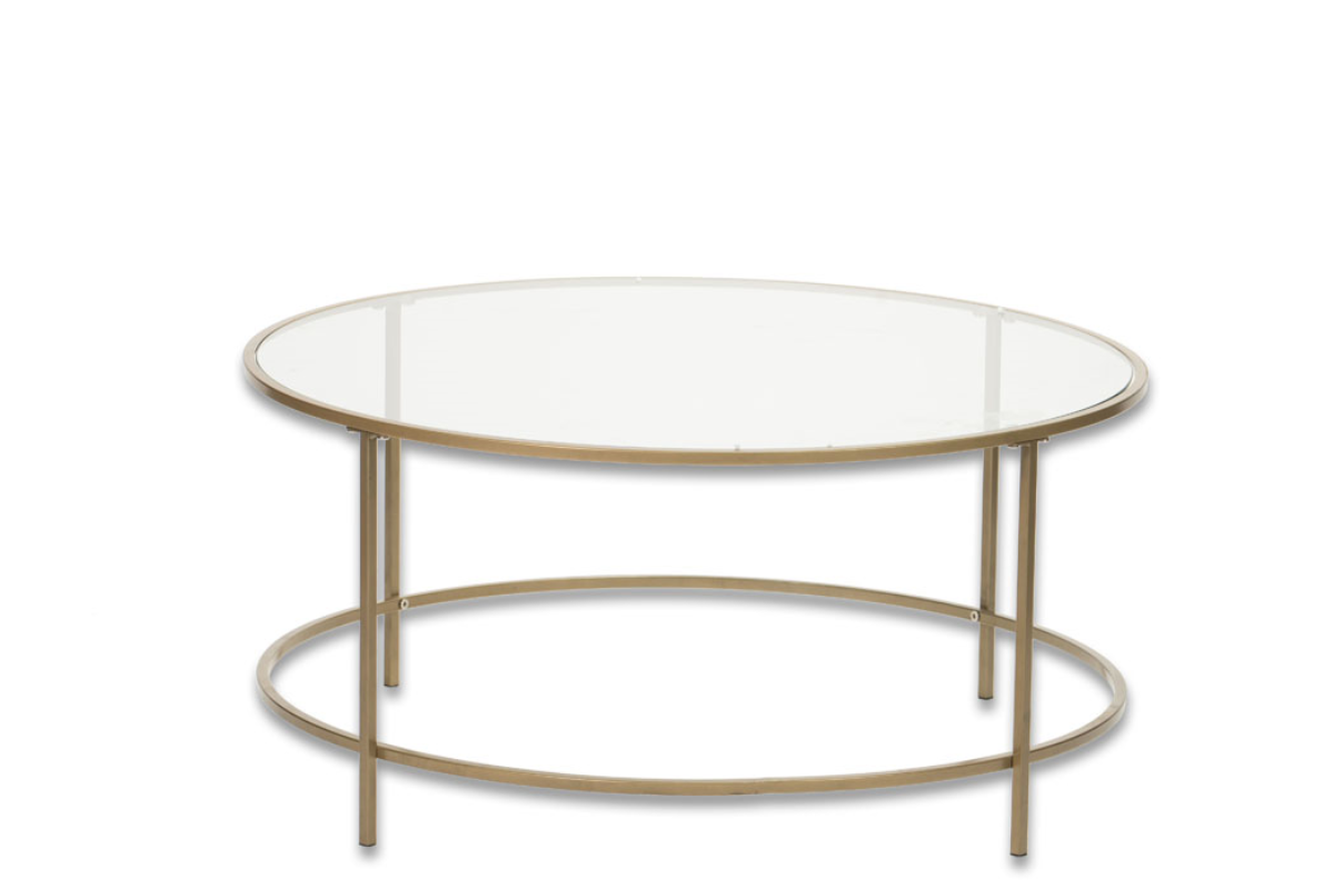A 02 Round Gold Glass Coffee Table Canvas Event Furniture