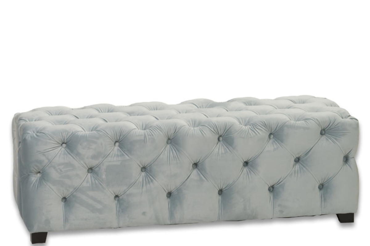 Super A 06 Light Blue Tufted Ottoman Gmtry Best Dining Table And Chair Ideas Images Gmtryco